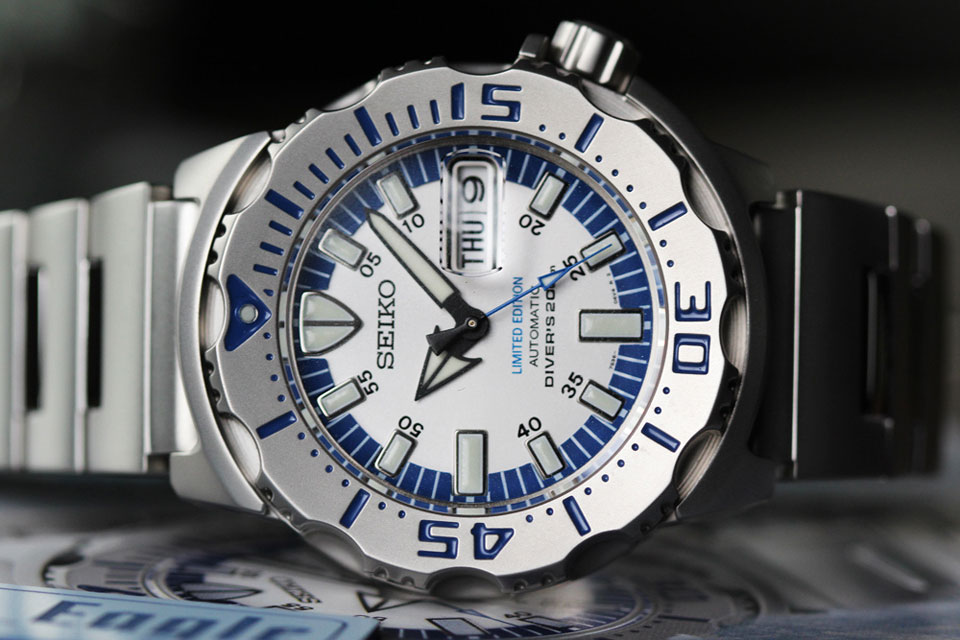 Seiko prospex monster royal blue limited edition automatic men.