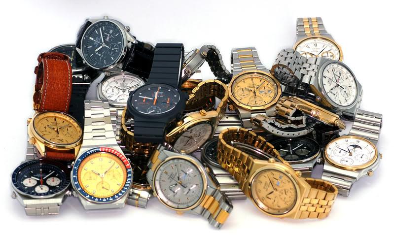 Pile of Seiko watches