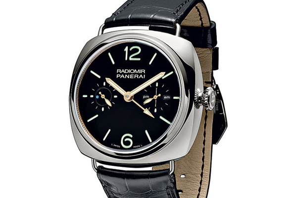 Caliber P.2005 powers Panerai's first tourbillon watch. The blue dot at 9 is connected to the tourbillon and completes a sweep every 30 seconds.