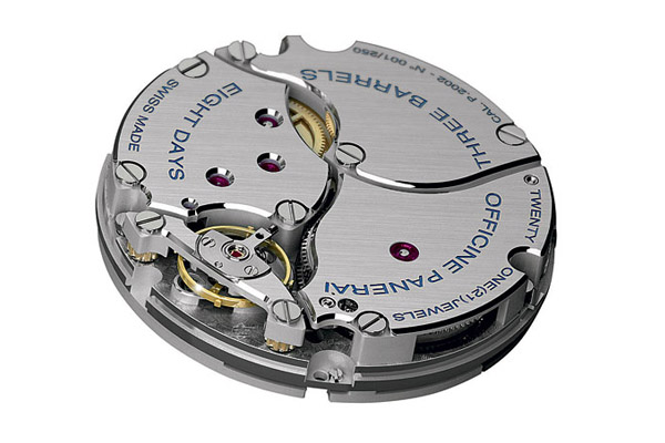 Caliber P.2002, introduced in 2005, is a hand-wound movement with eight days of power.