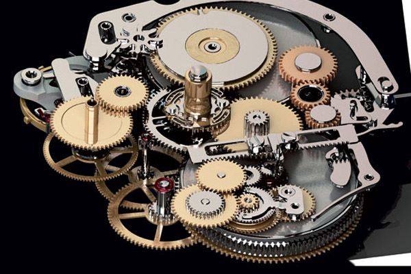 Panerai's first in-house movement, Caliber P.2002, had three barrels powering the watch for eight days plus a linear power-reserve display.