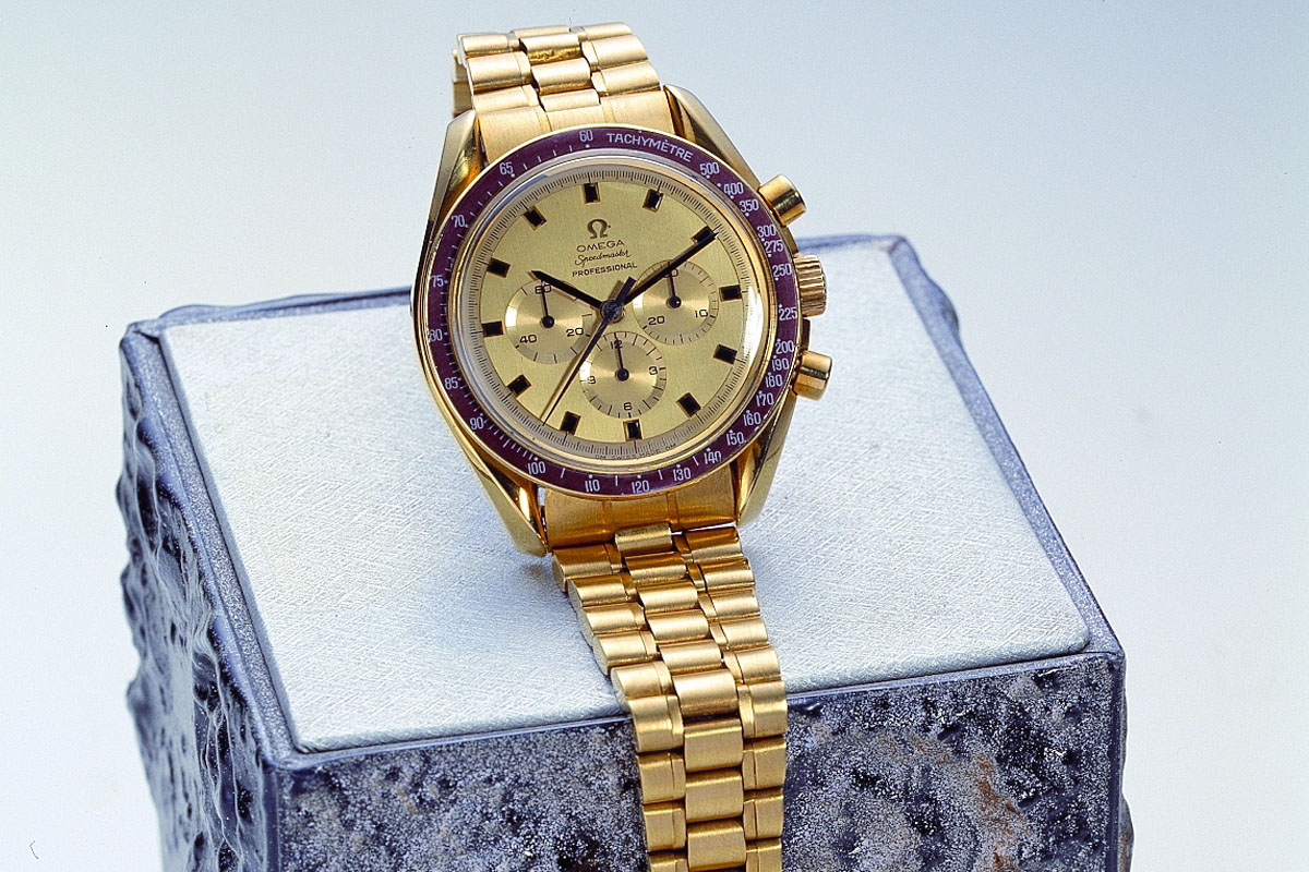 Omega Speedmaster Apollo XI 1969 yellow gold brown bezel BA 145.022