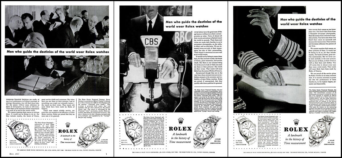 1950's Rolex advertisement Men who guide the destination of the world wear rolex