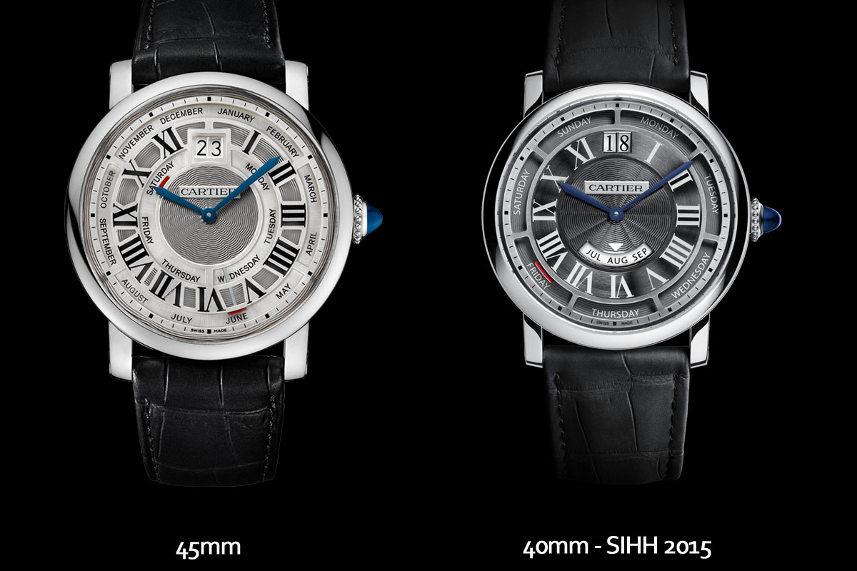 Cartier Rotonde Annual Calendar 45mm vs. 40mm
