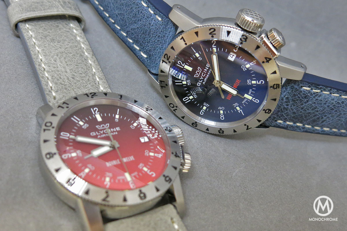 Glycine Airman Double Twelve Blue and Red