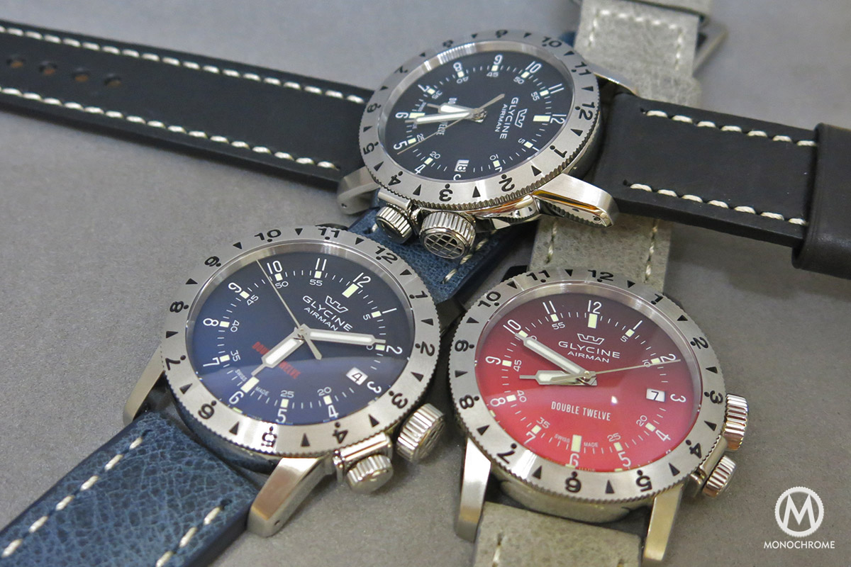 Glycine Airman Double Twelve Black Blue and Red