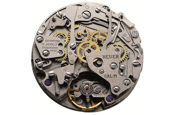 An original 1969 Heuer Calibre 11, one of the first automatic chronograph movements.