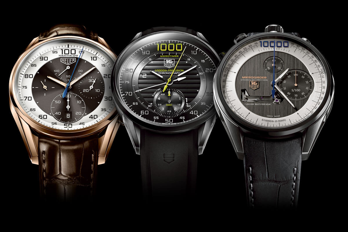 Left to right: the TAG Heuer Mikrograph, Mikrotimer, and Mikrogirder.