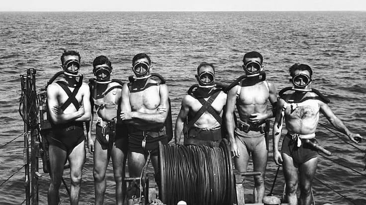 French Naval GRS team, shot in 1947 shows Jacques-Yves Cousteau on the far left