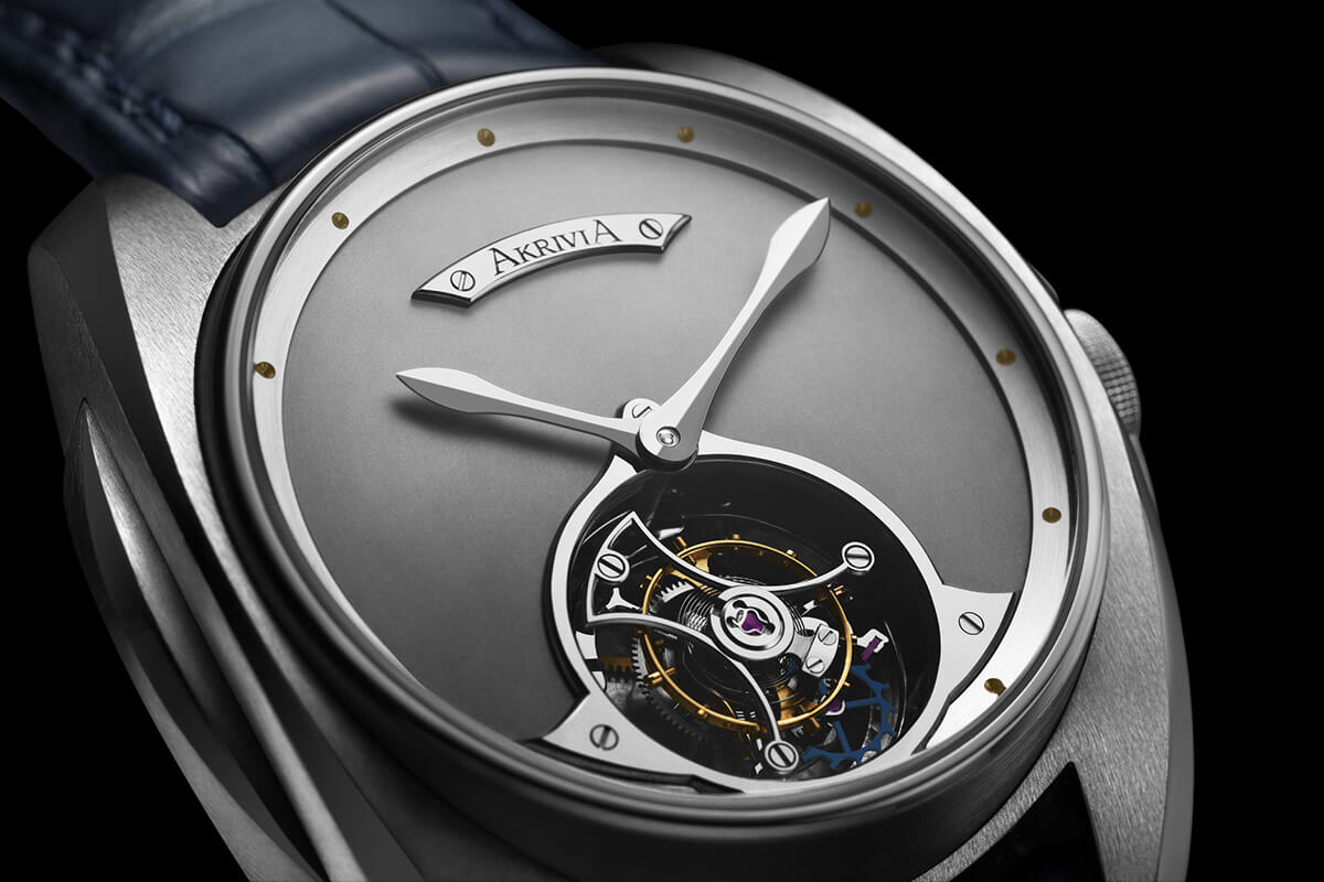 Akrivia Tourbillon Heure Minute Matt dial steel - 1