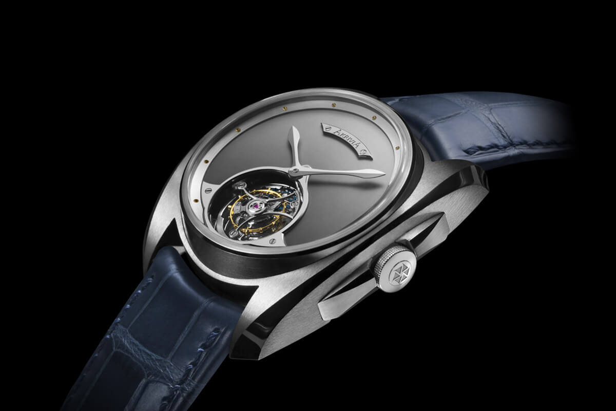 Akrivia Tourbillon Heure Minute Matt dial steel - 2