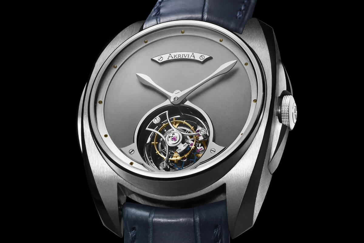 Akrivia Tourbillon Heure Minute Matt dial steel - 4