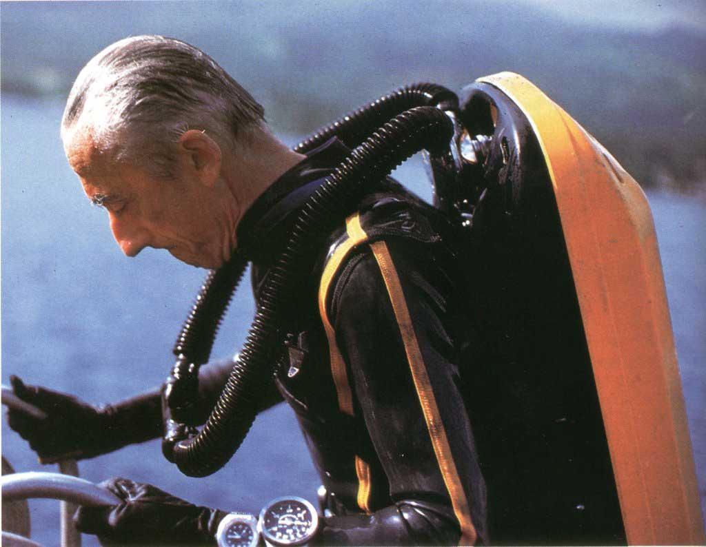 Cousteau wearing a Doxa Sub