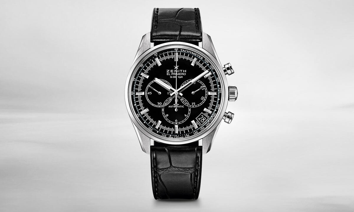 Zenith El Primero chronograph 36.000 black lacquered dial