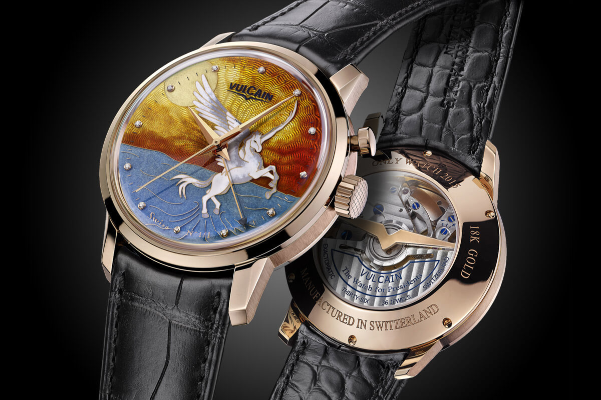 Vulcain 50s President Cloisonne Grand Feu Only Watch Pegasus - 1