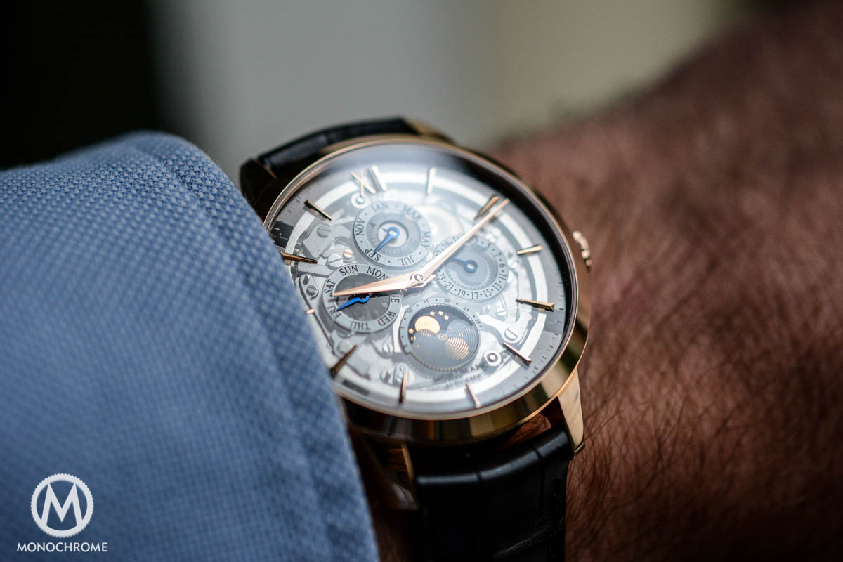 Montblanc Heritage Spirit Perpetual Calendar with smoked sapphire dial on the wrist