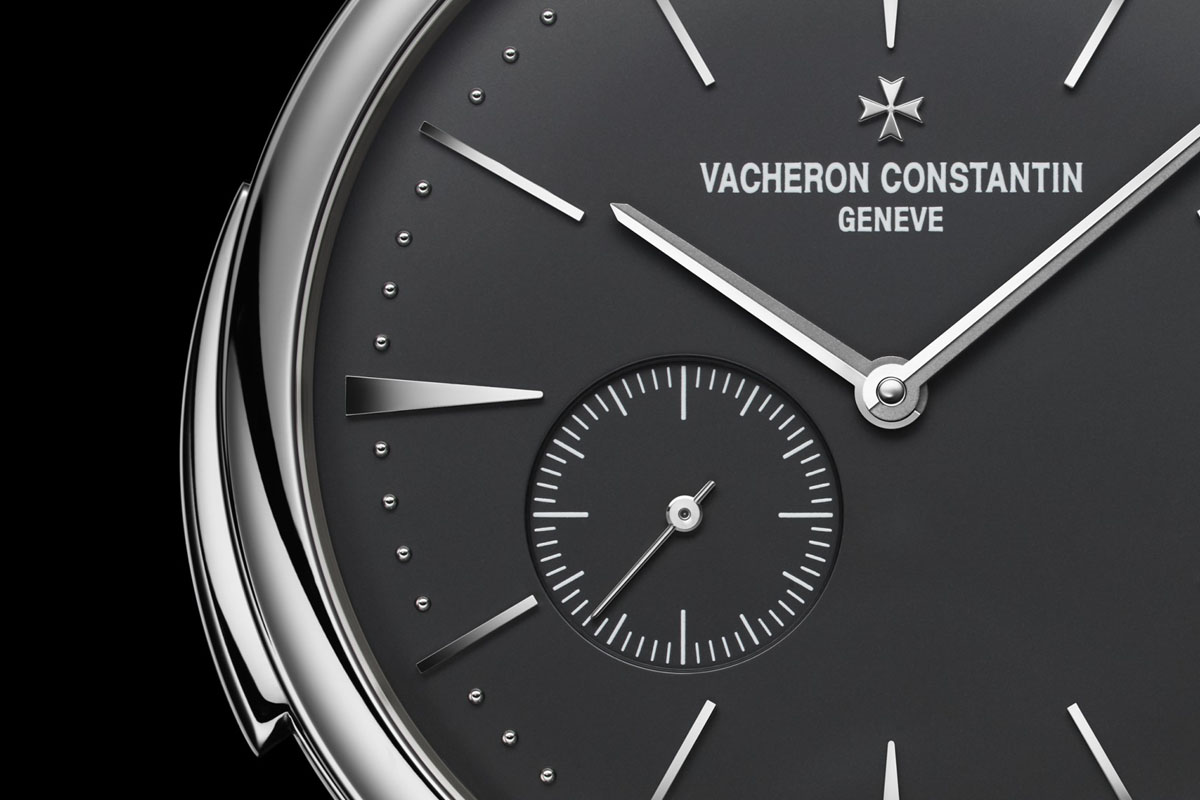 Vacheron Constantin Patrimony Ultra-Thin Minute Repeater Platinum black dial close up