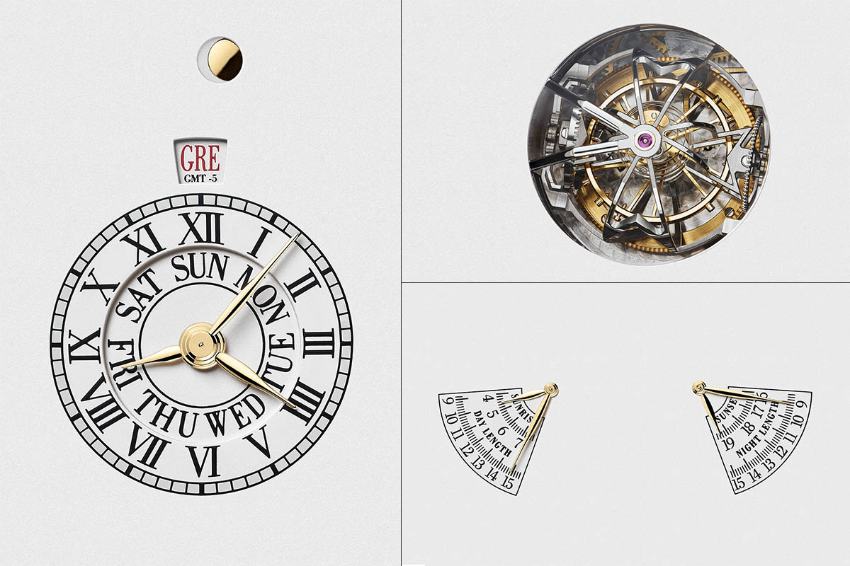 Day of the week & second time zone, three-axis tourbillon with spherical spiral, and sunrise and day length and time of sunset and night length
