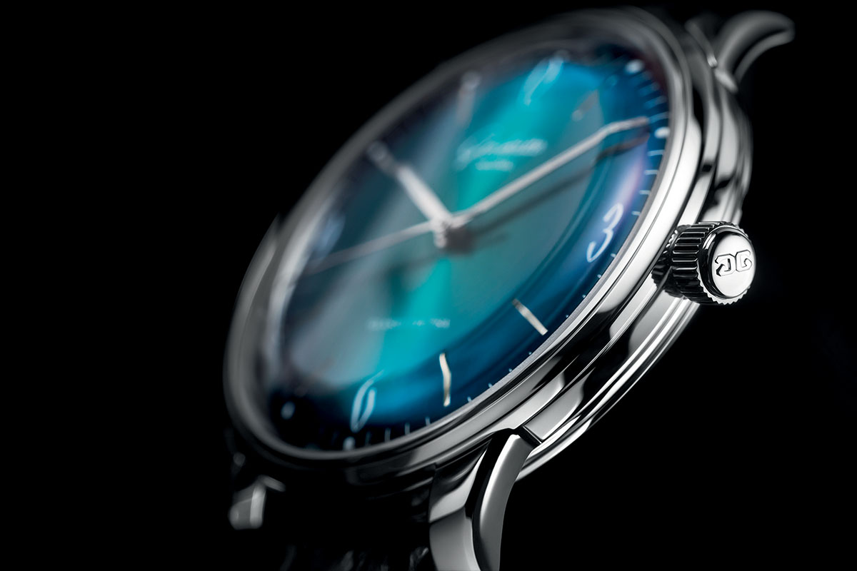 Glashutte Original Sixties aqua dial detail