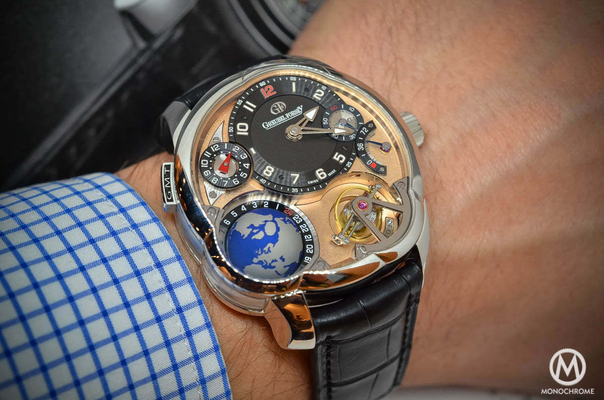 Greubel Forsey GMT Rose gold 5N movement Platinum case - on the wrist