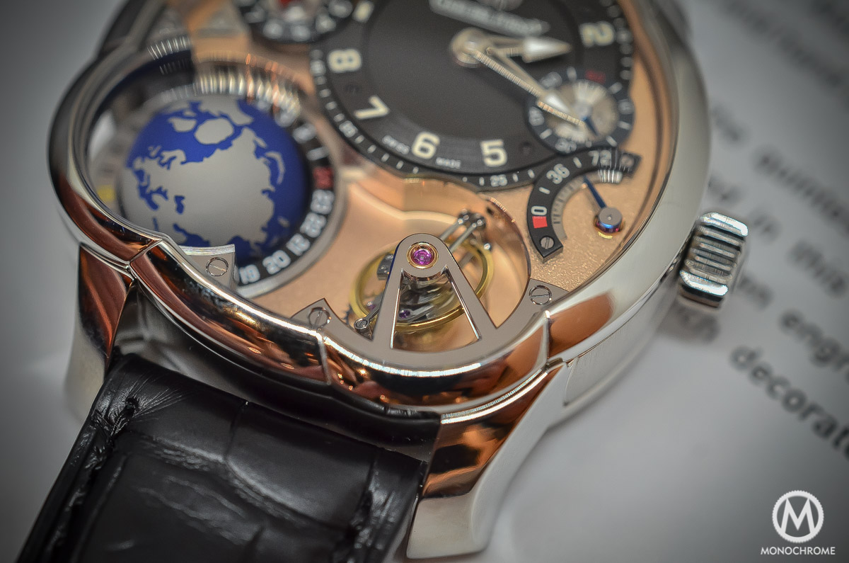 Greubel Forsey GMT Rose gold 5N movement Platinum case - tourbillon close up