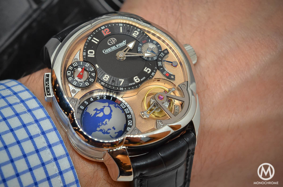 Greubel Forsey GMT Rose gold 5N movement Platinum case - wristshot