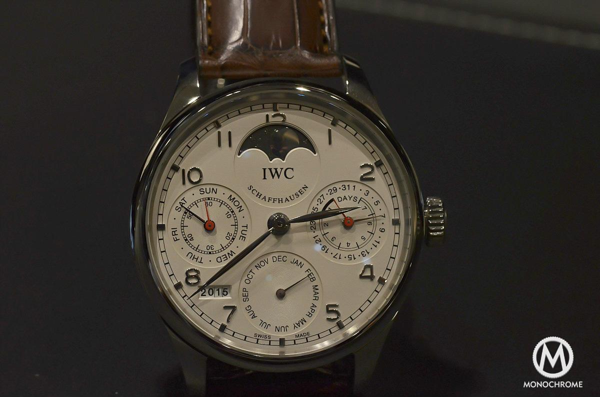 IWC Portuguese Perpetual Calendar Steel dial detail