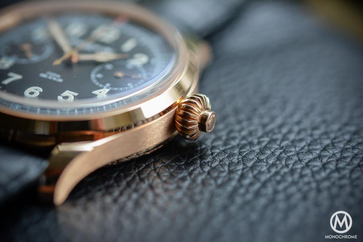 Montblanc 1858 Chronograph Tachymeter - Villeret CHronograph Monopusher ref. 112637 - crown pusher