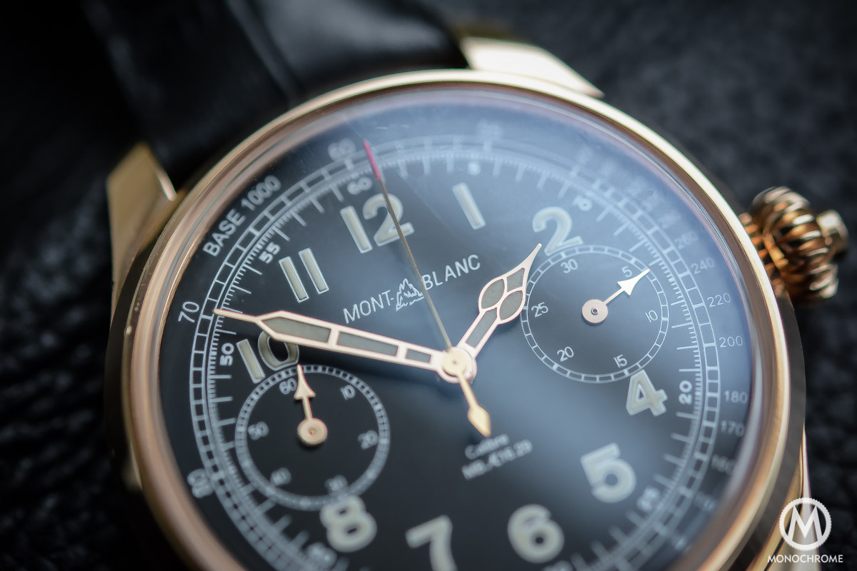 Montblanc 1858 Chronograph Tachymeter - Villeret CHronograph Monopusher ref. 112637 - dial and hands