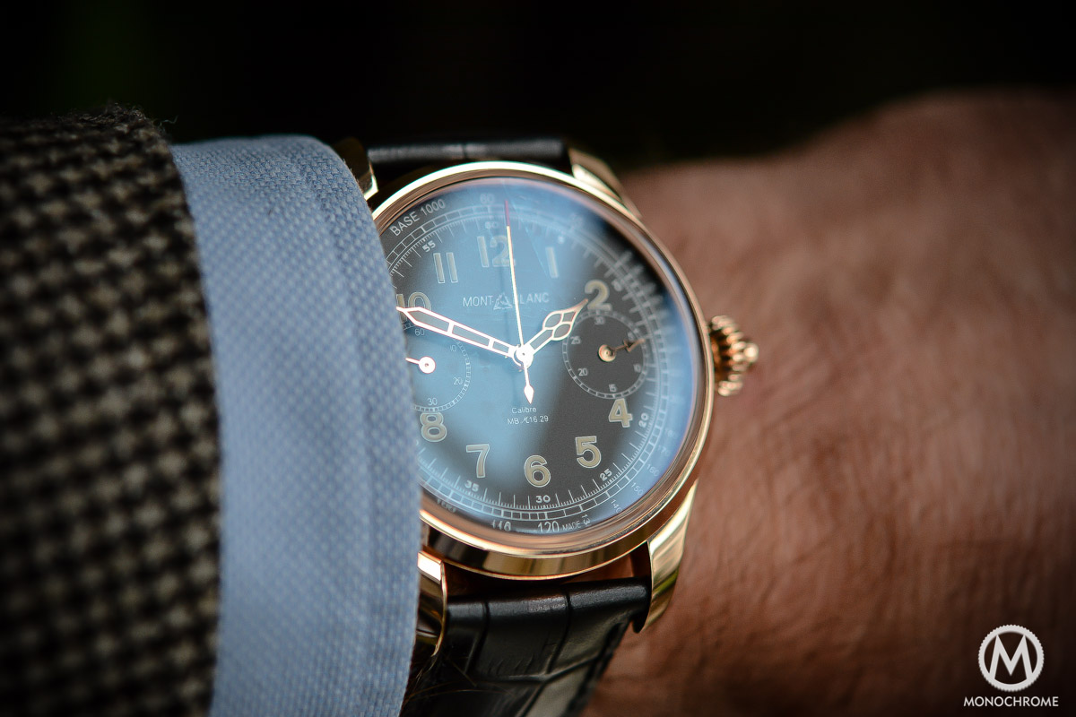 Montblanc 1858 Chronograph Tachymeter - Villeret CHronograph Monopusher ref. 112637 - on the wrist