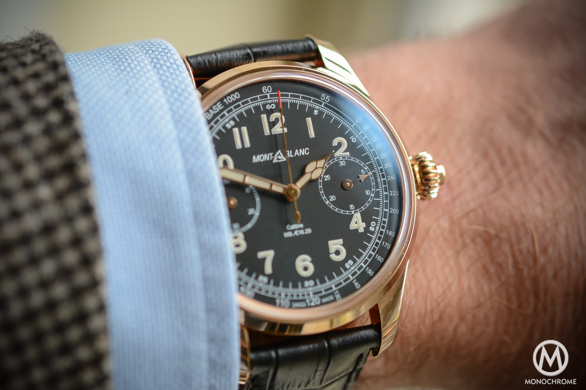 Montblanc 1858 Chronograph Tachymeter - Villeret CHronograph Monopusher ref. 112637 - wrist