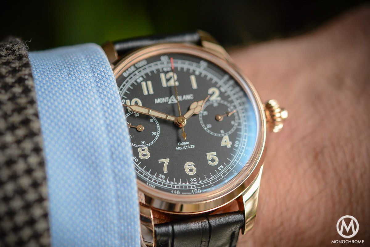 Montblanc 1858 Chronograph Tachymeter - Villeret CHronograph Monopusher ref. 112637 - wristshot