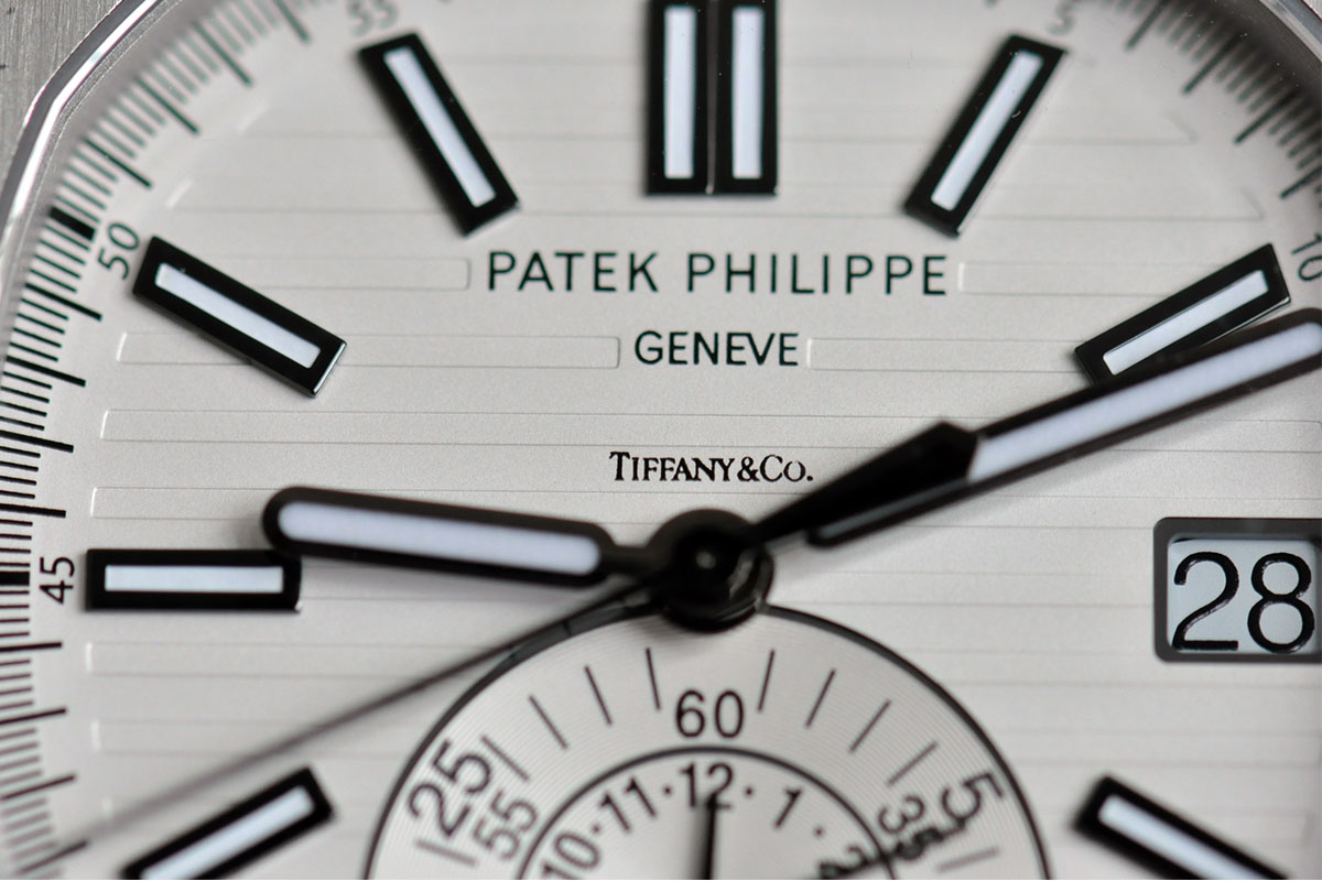 Patek Philippe Nautilus Chronograph 5980 Kristian Haagen - White Tiffany Dial - dial close up