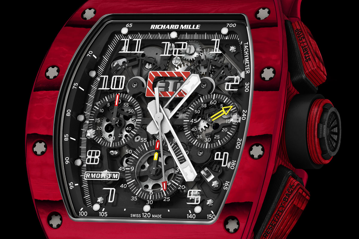 Richard Mille RM 011 Red TPT Quartz automatic flyback chronograph - dial close up