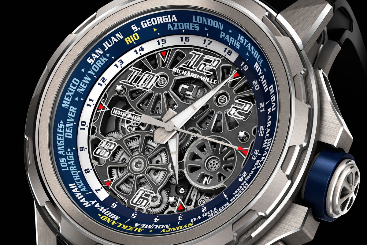 Richard Mille RM 63-02 World Timer Automatic - dial detail
