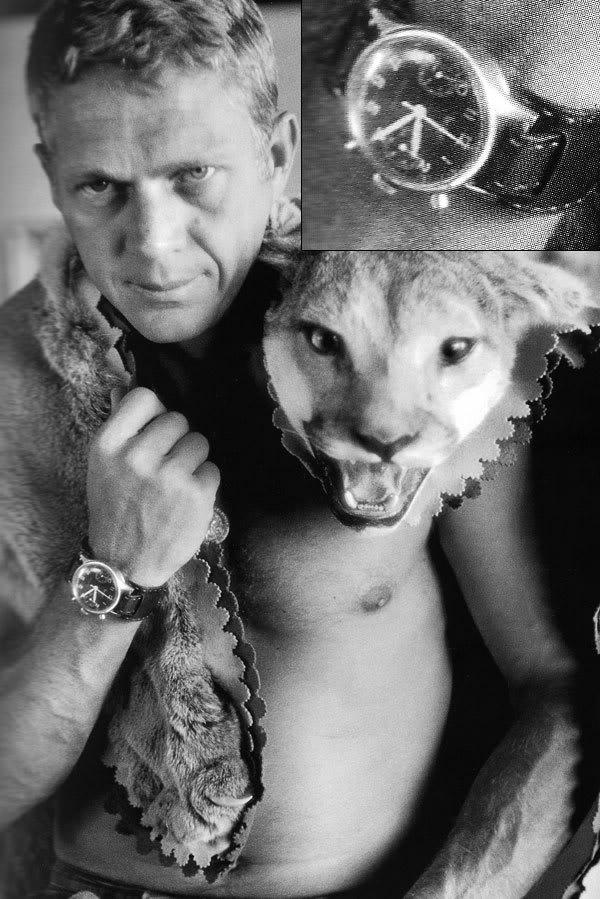 Steve McQueen wearing a Hanhart Chronograph