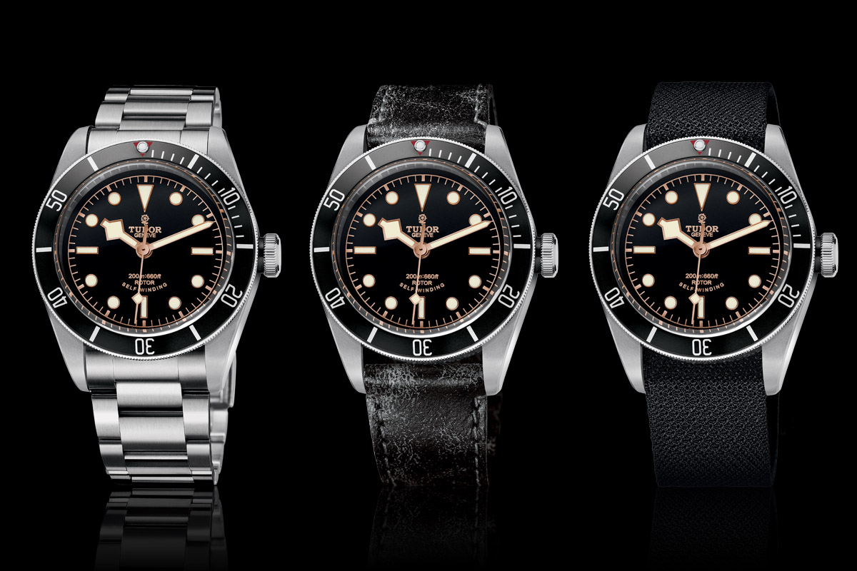 Tudor Black Bay Black Bezel 79220N - full collection - steel bracelet - leather strap - fabric strap