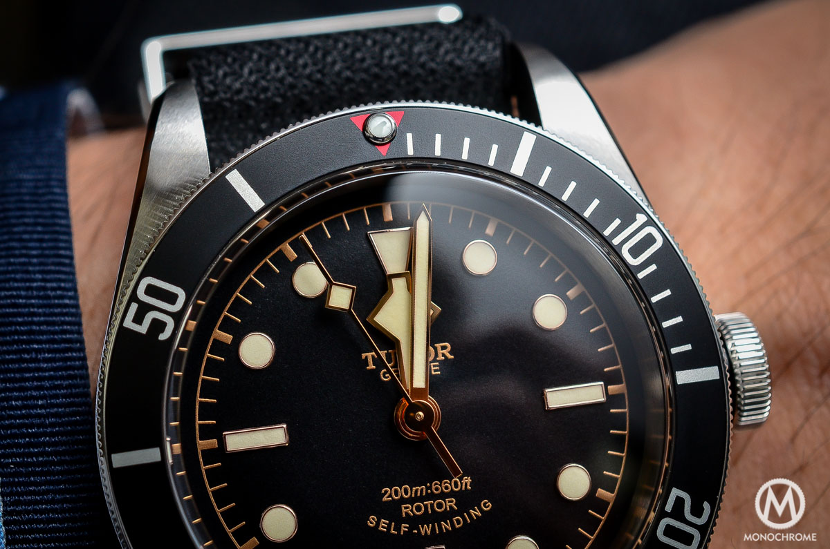 Tudor Black Bay Black Bezel 79220N - red triangle detail
