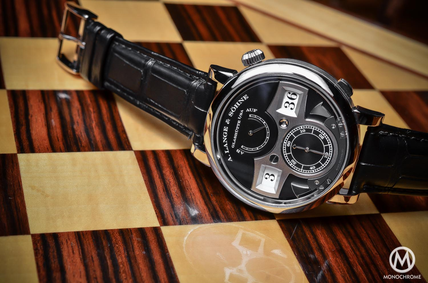 A. Lange Sohne Zeitwerk Striking Time White Gold Black Dial