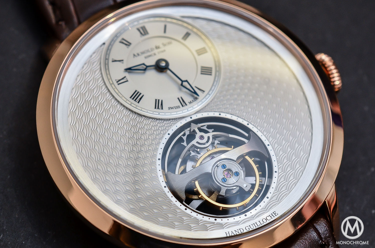 Arnold & Son UTTE – Ultra Thin Tourbillon Escapement - guilloche dial close up