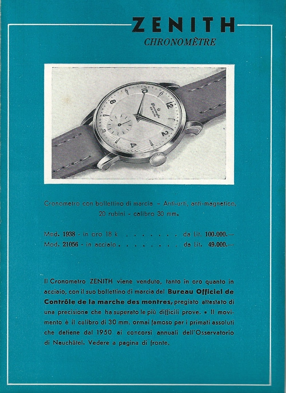 zenith calibre 135 chronometer - 1