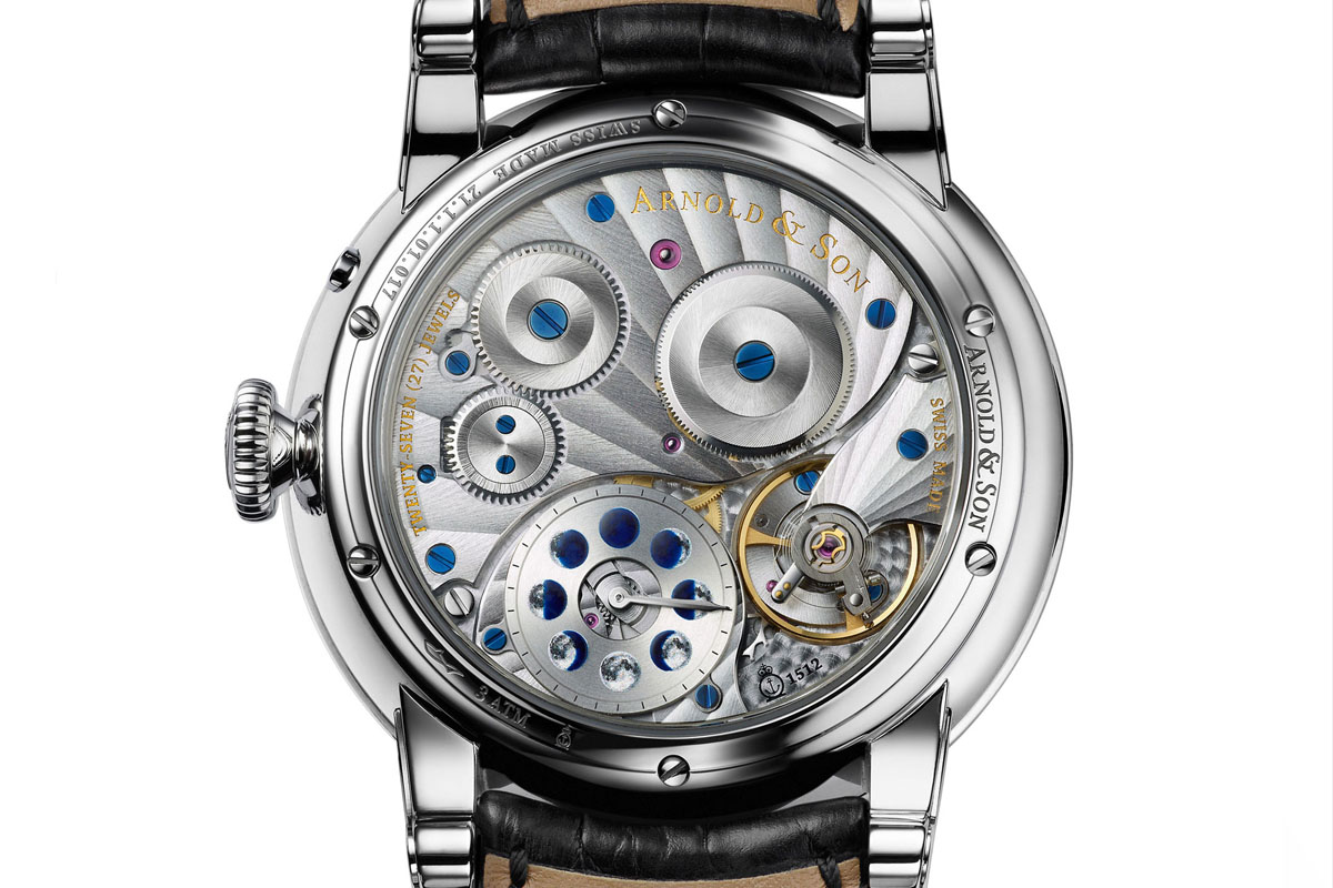 Arnold and Son HM Perpetual Moon steel blue guilloche dial