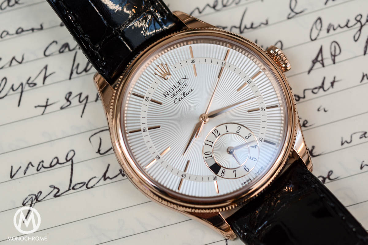 Rolex Cellini Dual Time everose gold ref. 50525 - dial and hands