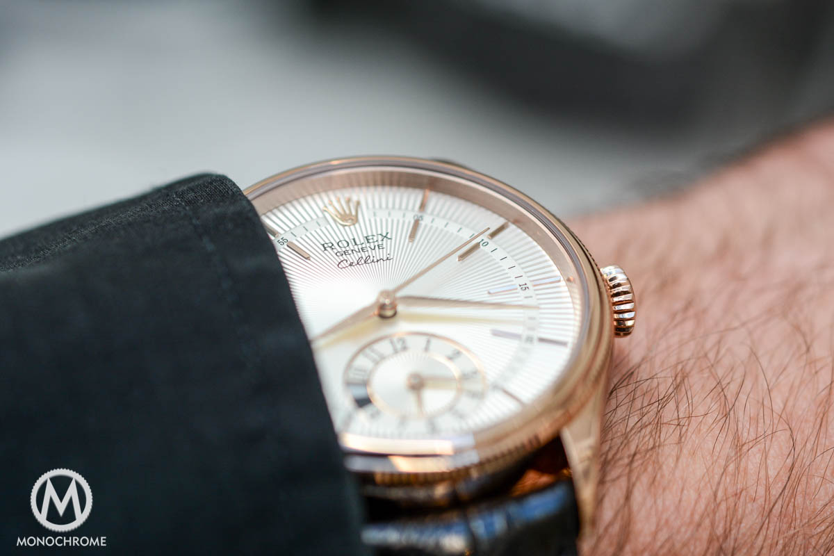 Rolex Cellini Dual Time everose gold ref. 50525 - wristshot