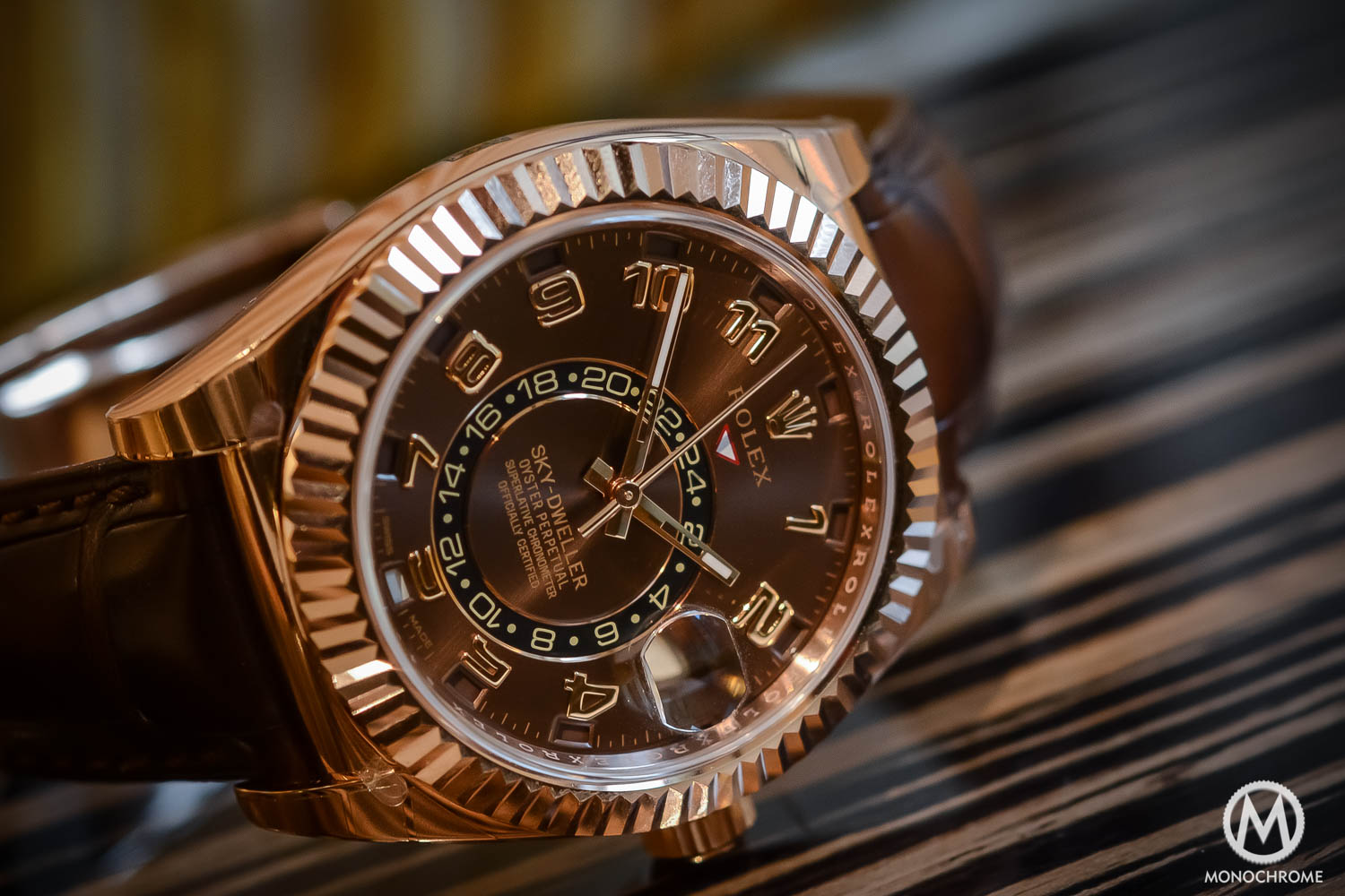 Rolex Sky-Dweller Review - dial detail - everose gold chocolate brown dial