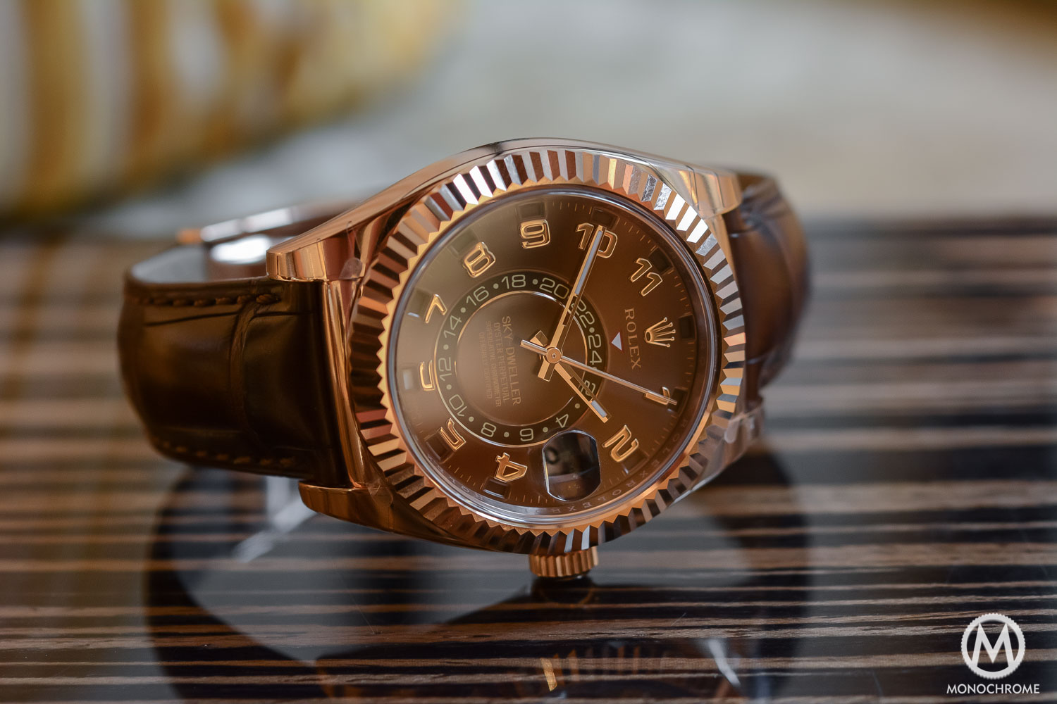 Rolex Sky-Dweller Review - lifestyle - everose gold chocolate brown dial