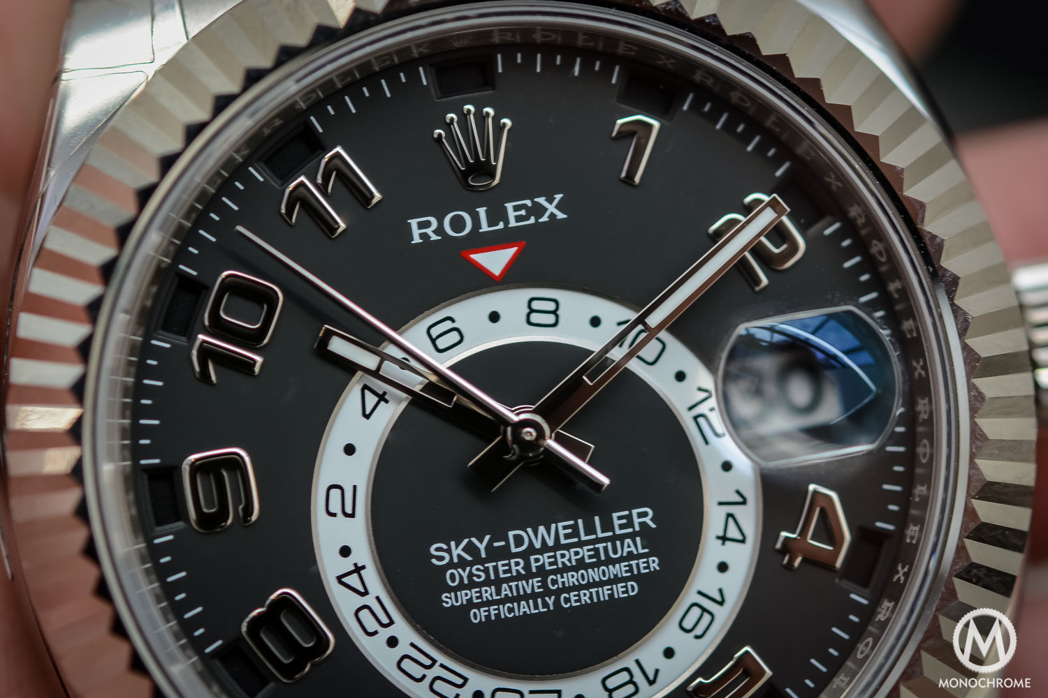 Rolex Sky-Dweller Review - display close up - white gold black dial
