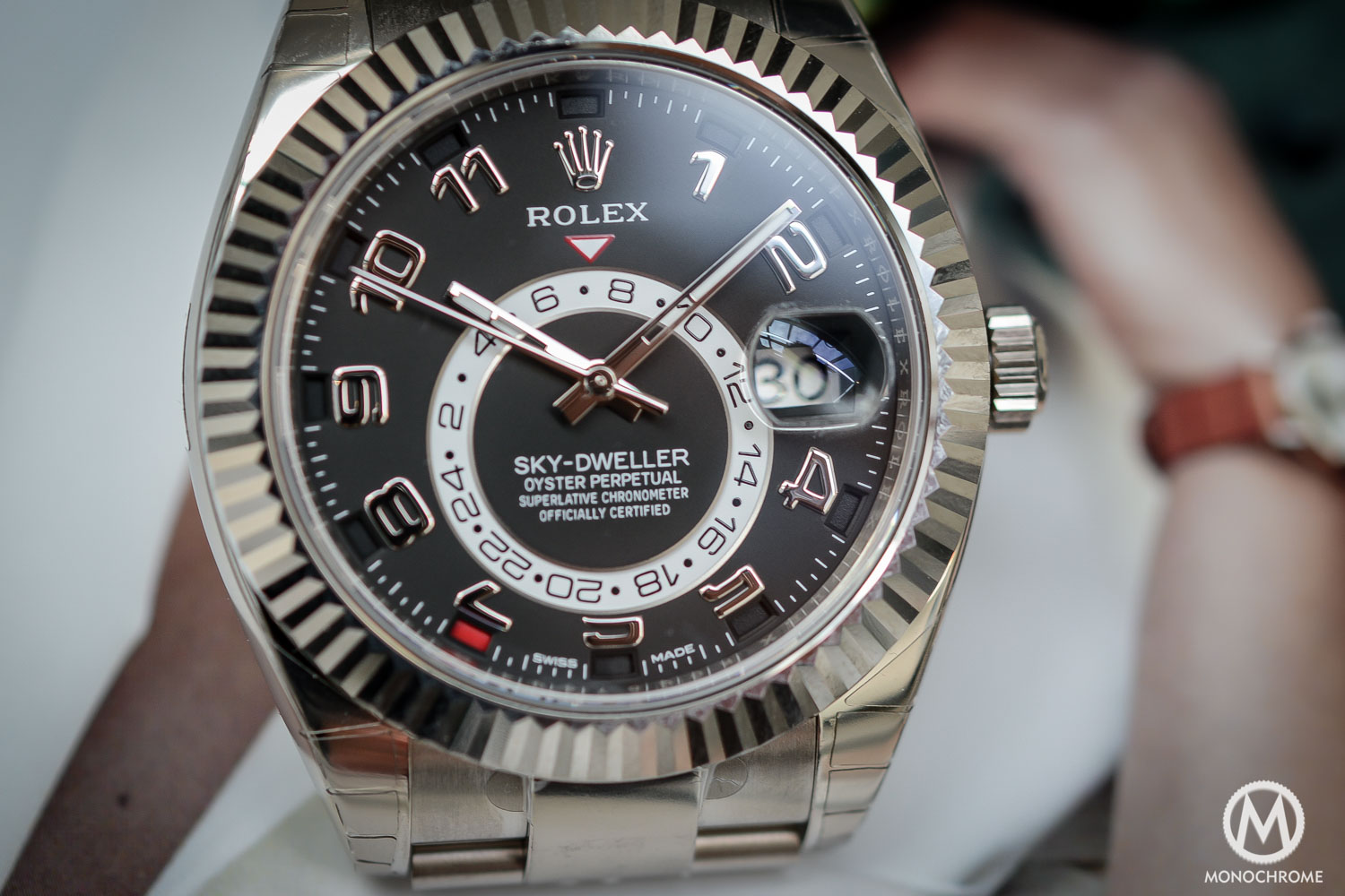Rolex Sky-Dweller Review - dial and hands - white gold black dial