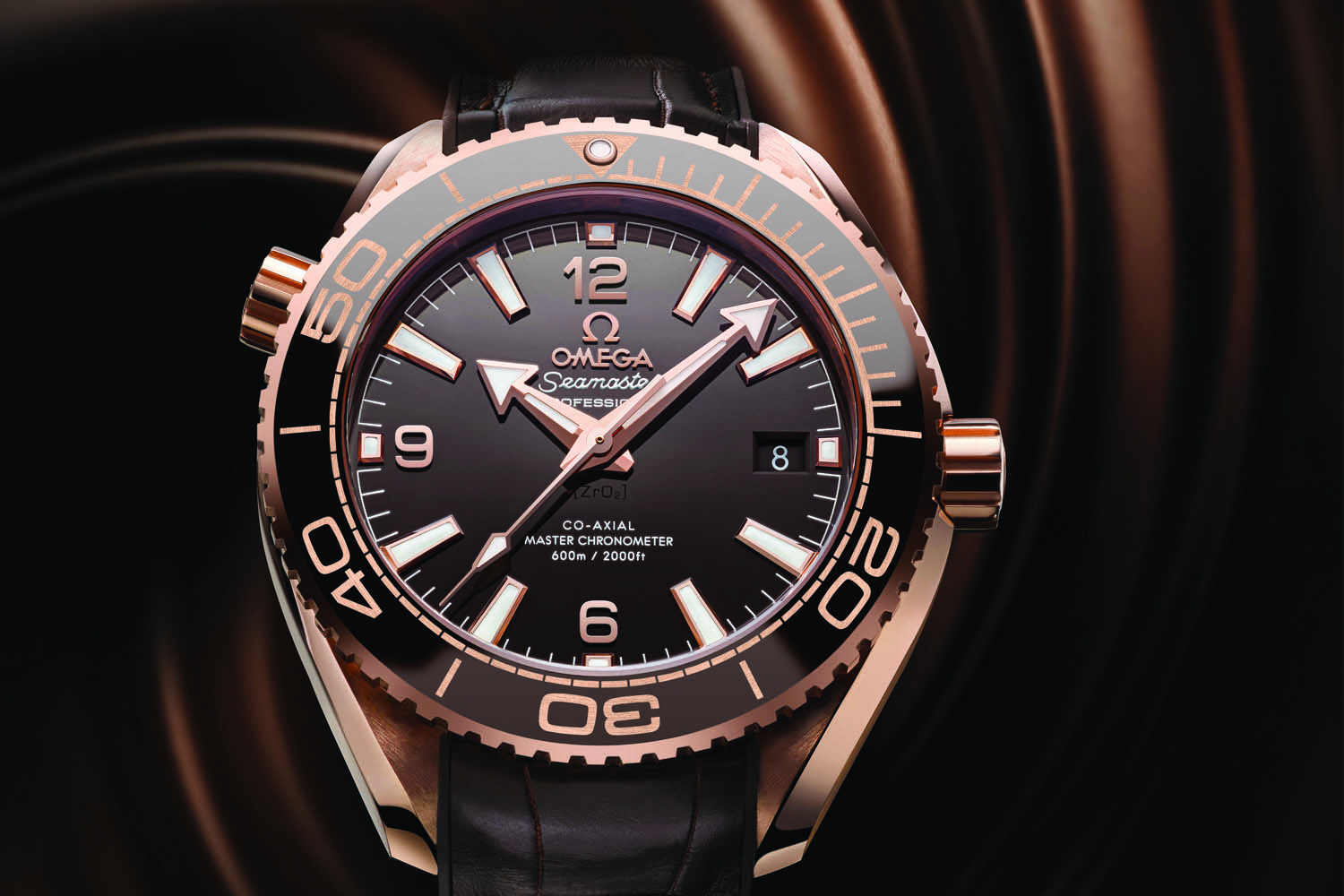 Omega Seamaster Planet Ocean 600m Master Chronometer 39.5mm Sedna Gold brown dial - baselworld 2016 - ref. 215.63.40.20.13.001