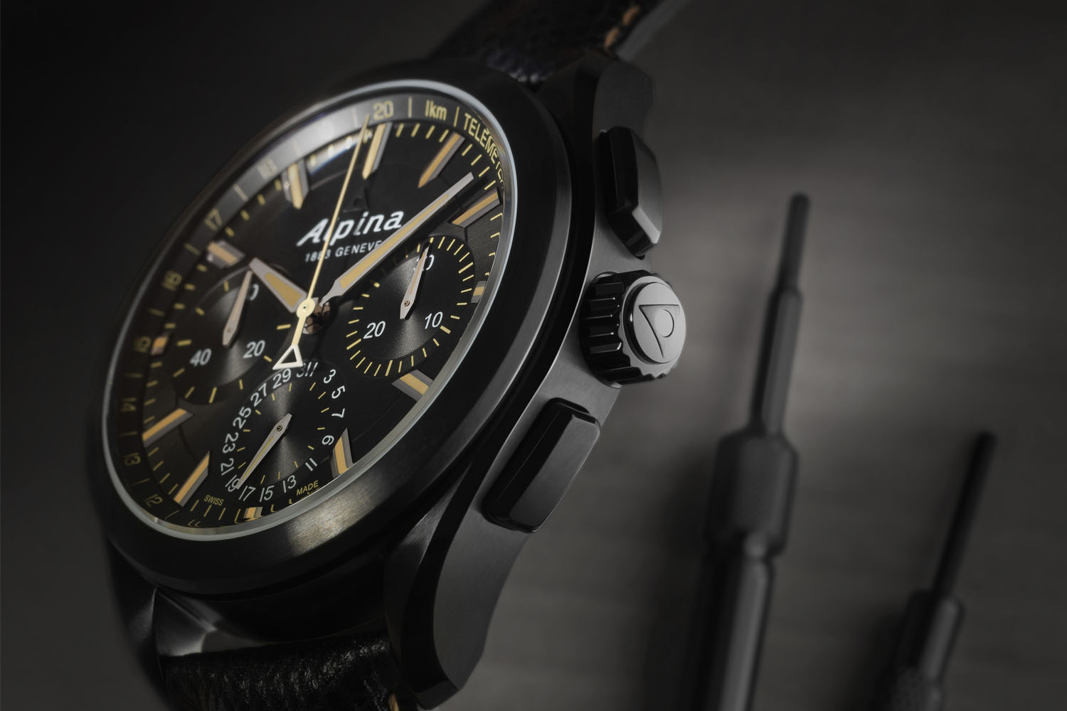 Alpina Watches Alpiner 4 Manufacture Flyback Chronograph Full Black - Calibre AL-760